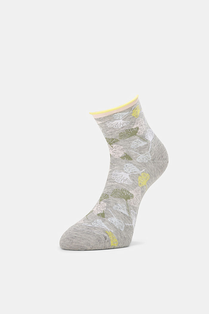 Socks with gingko motifs and rolled cuffs, LIGHT GREY, detail image number 2