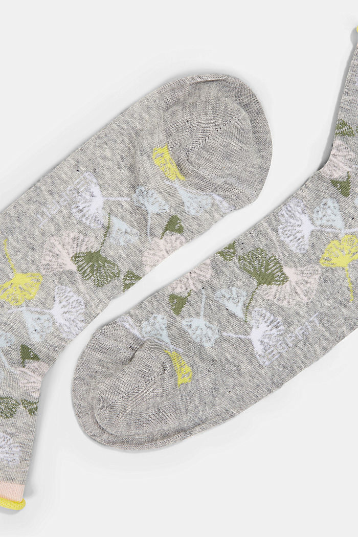 Socks with gingko motifs and rolled cuffs, LIGHT GREY, detail image number 1