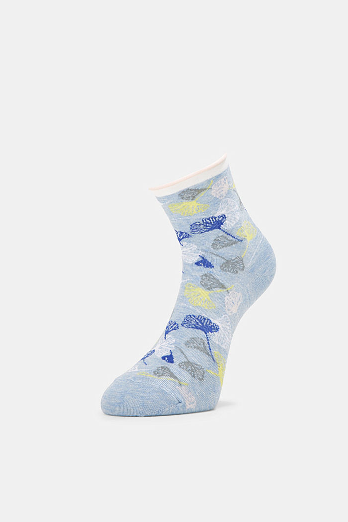 Socks with gingko motifs and rolled cuffs, JEANS, detail image number 2