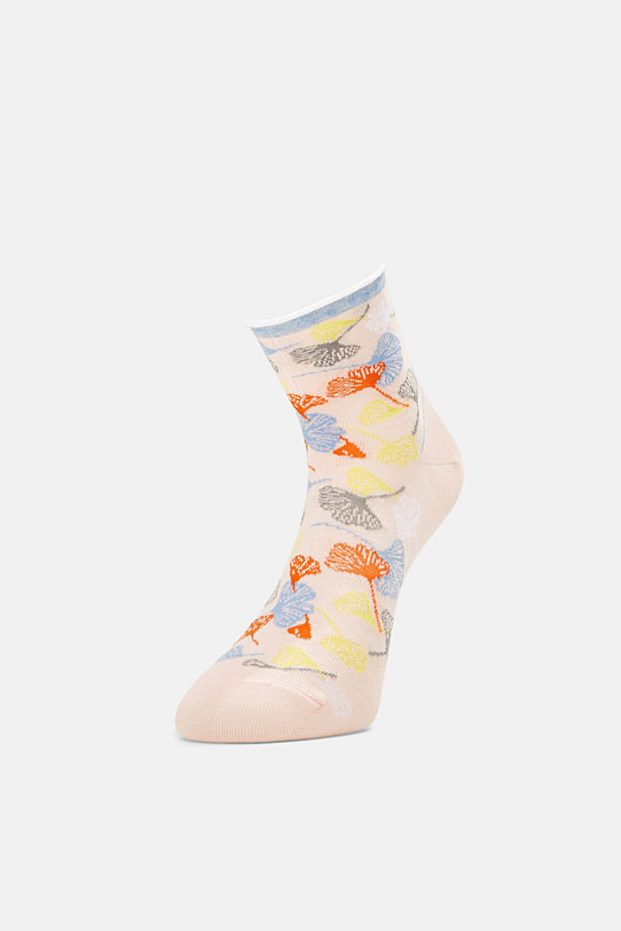 Socks with gingko motifs and rolled cuffs