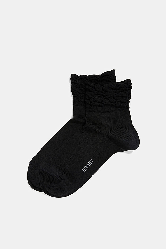 Socks with frilled cuffs, BLACK, detail image number 0
