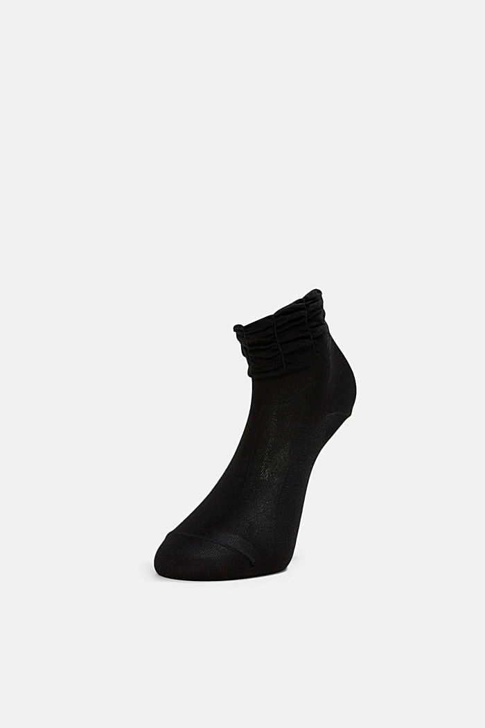Socks with frilled cuffs, BLACK, detail image number 2