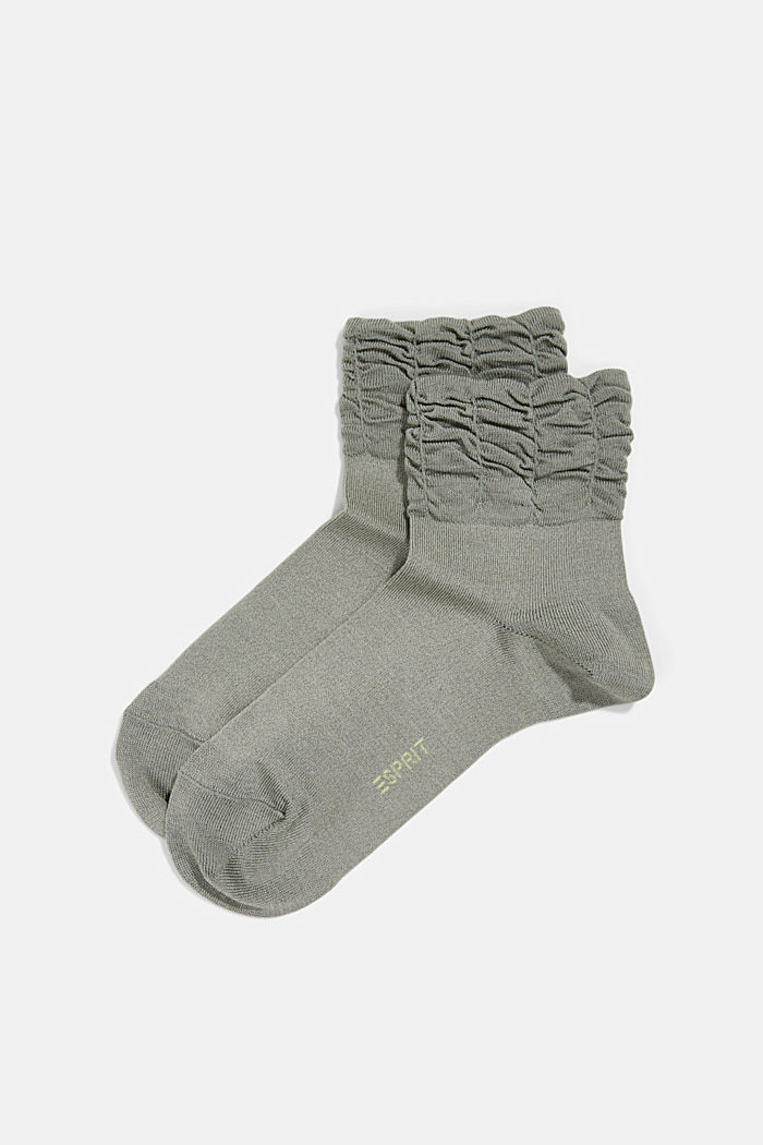 Socks with frilled cuffs, OLIVE, overview
