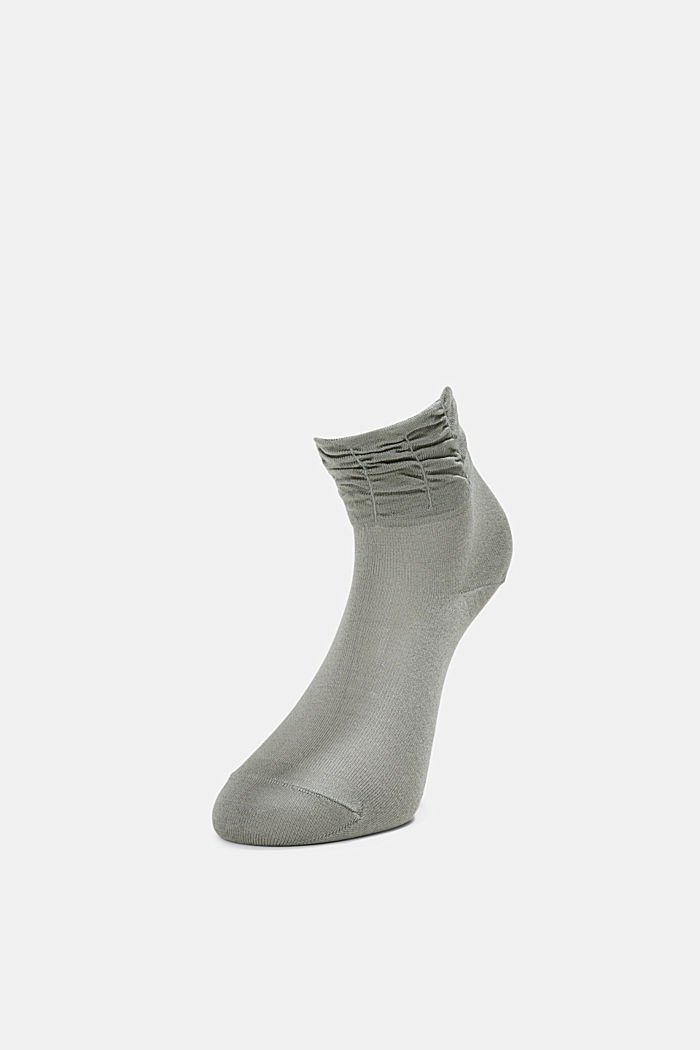 Socks with frilled cuffs, OLIVE, detail image number 2