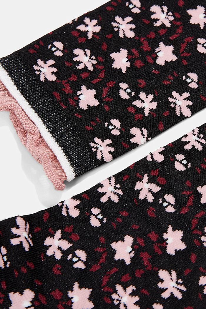 Gemusterte Socken mit Rüschen-Bündchen, BLACK, detail image number 1
