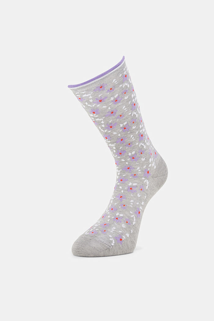 Patterned socks with frilly cuffs