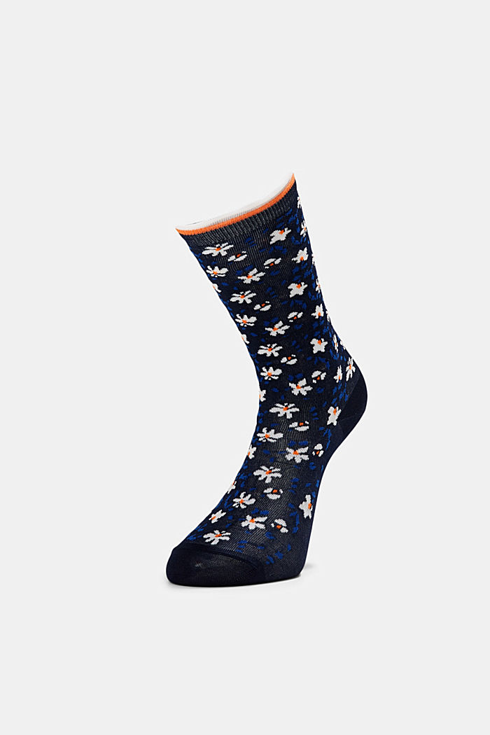 Patterned socks with frilly cuffs, MARINE, detail image number 2