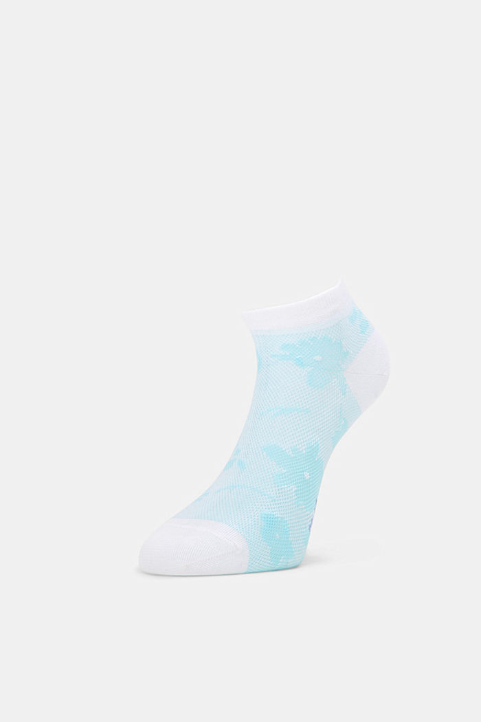 Sneakersstrumpor med blommönster, WHITE, detail image number 2