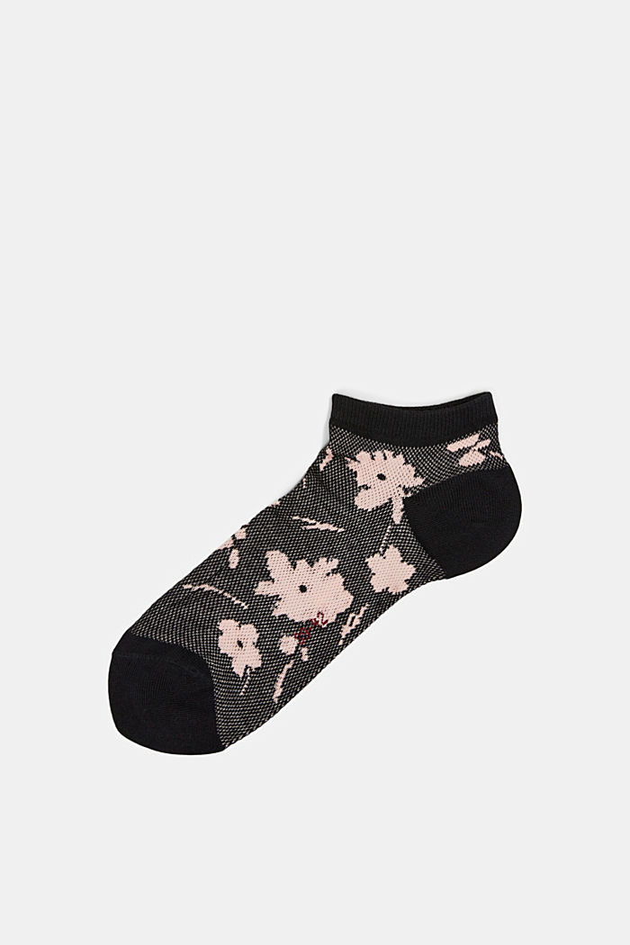 Sneakersocken mit Blumen-Muster, BLACK, detail image number 0