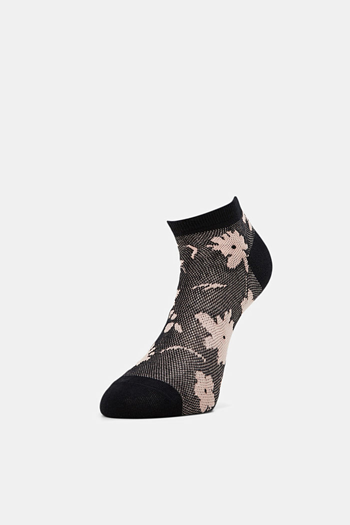 Sneakersocken mit Blumen-Muster, BLACK, detail image number 2
