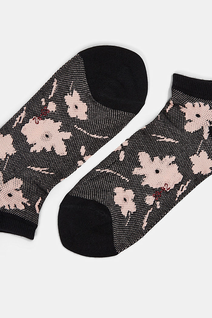 Sneakersocken mit Blumen-Muster, BLACK, detail image number 1