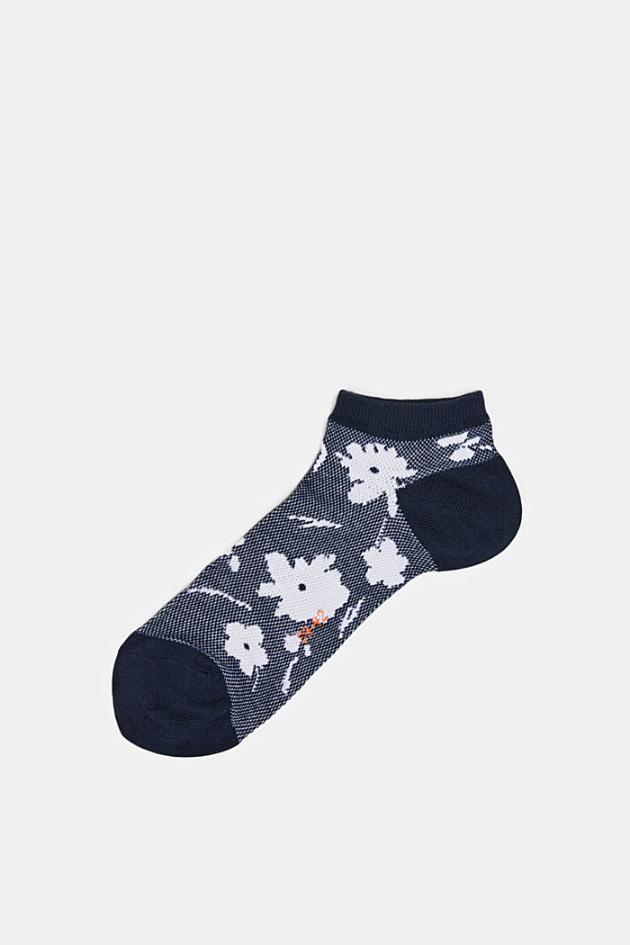 Sneakersstrumpor med blommönster, MARINE, detail image number 0