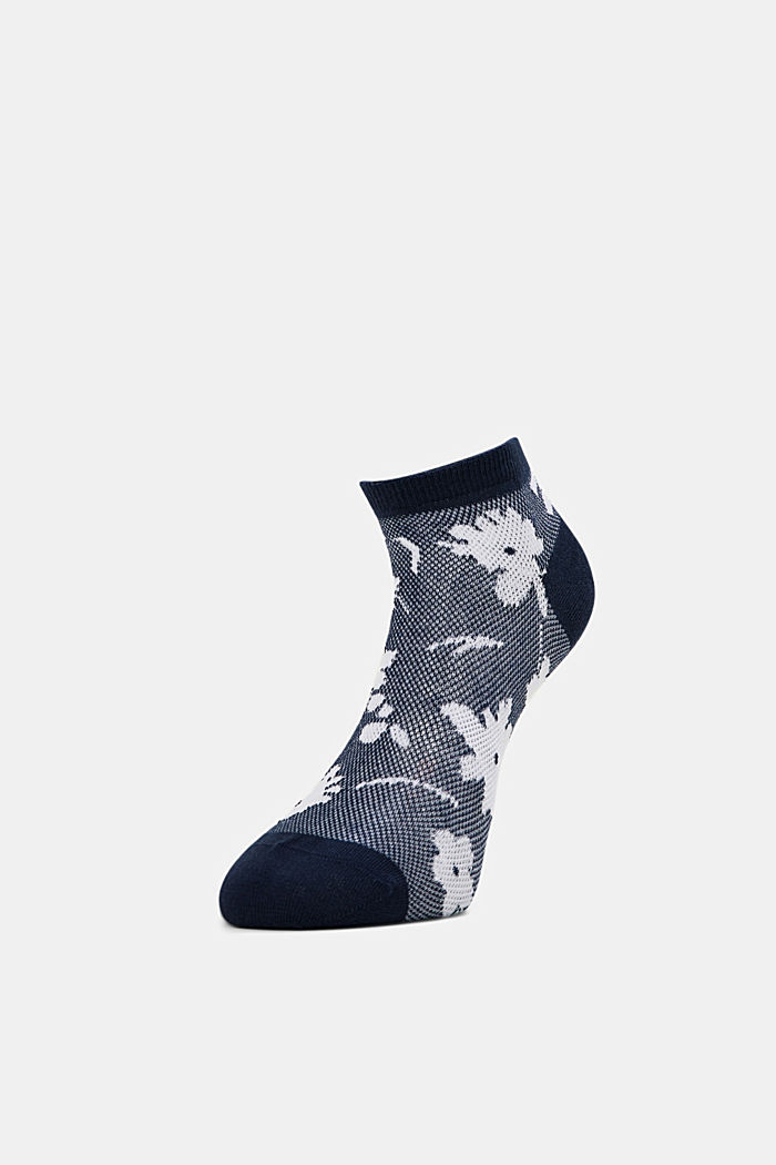 Trainer socks with a floral pattern, MARINE, detail image number 2