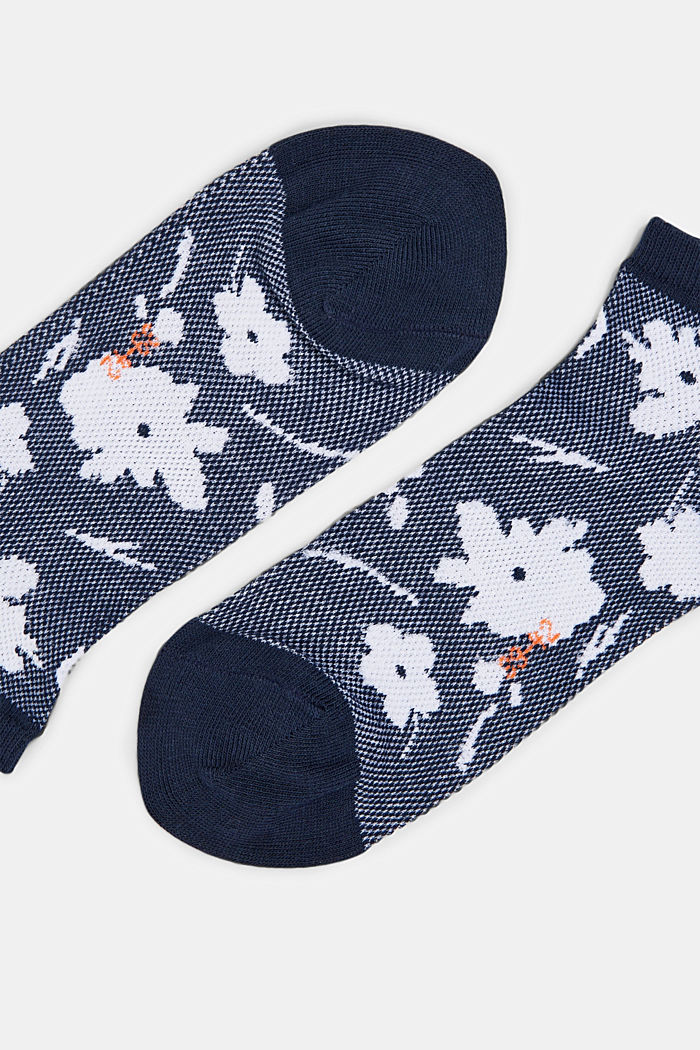 Sneakersocken mit Blumen-Muster, MARINE, detail image number 1