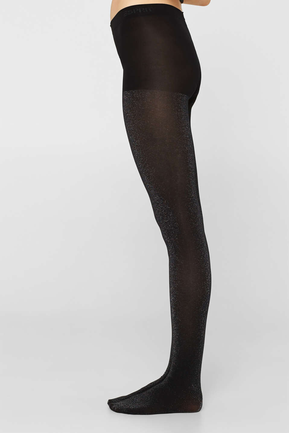Opaque tights in a glitter look, BLACK, detail image number 2