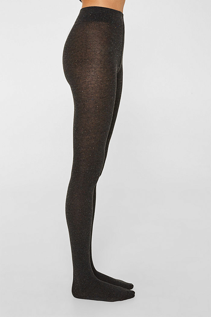 With silk: Dimpled tights, BLACK, detail image number 1