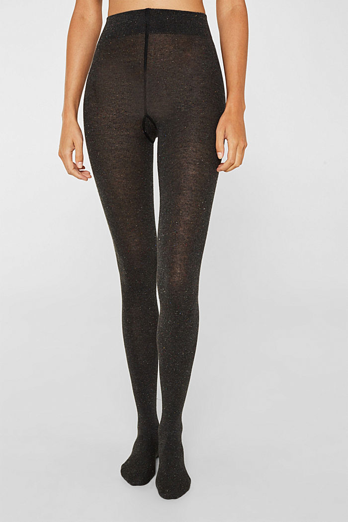 With silk: Dimpled tights, BLACK, detail image number 2