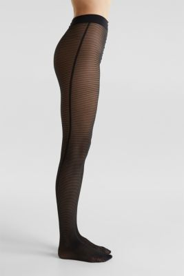 Tights with textured stripes, BLACK, detail