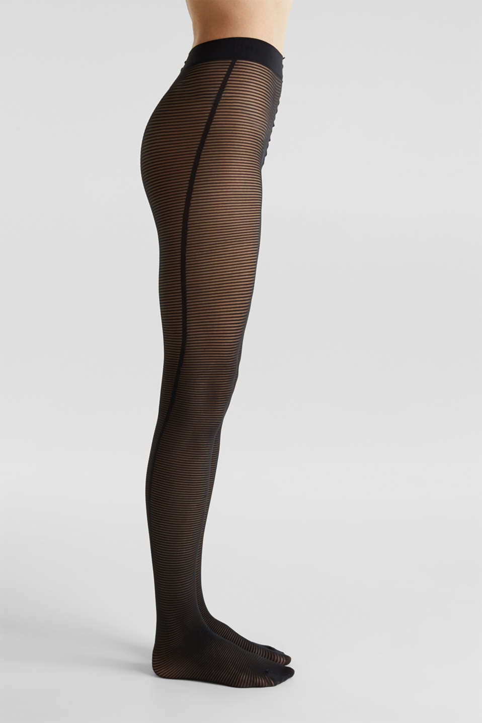 Tights with textured stripes, BLACK, detail image number 0