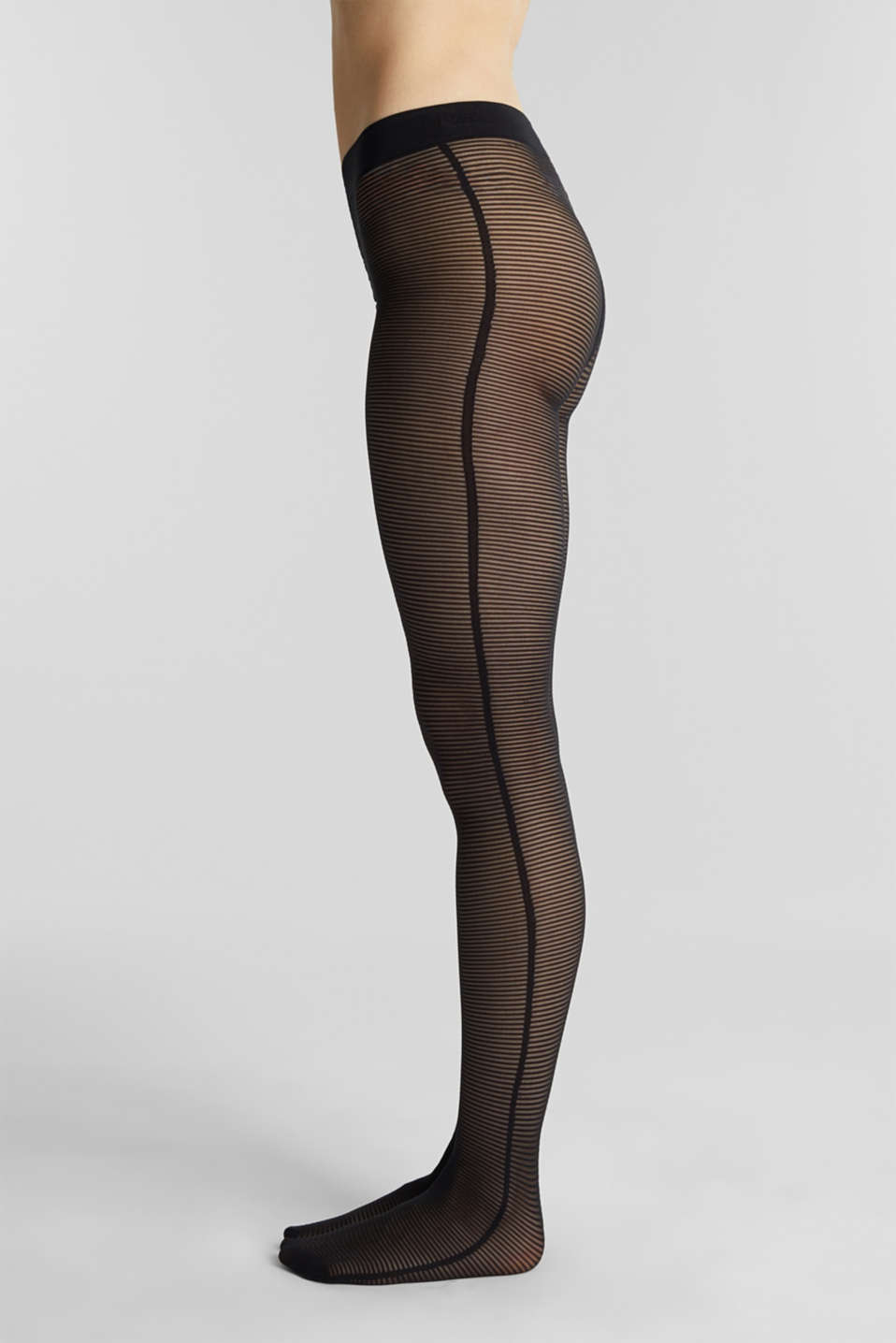 Tights with textured stripes, BLACK, detail image number 1