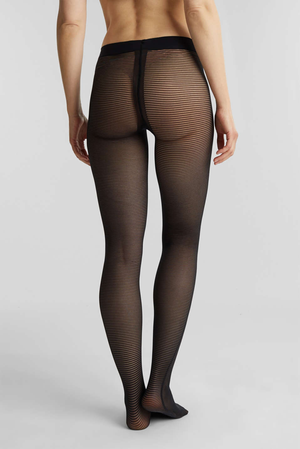 Tights with textured stripes, BLACK, detail image number 2