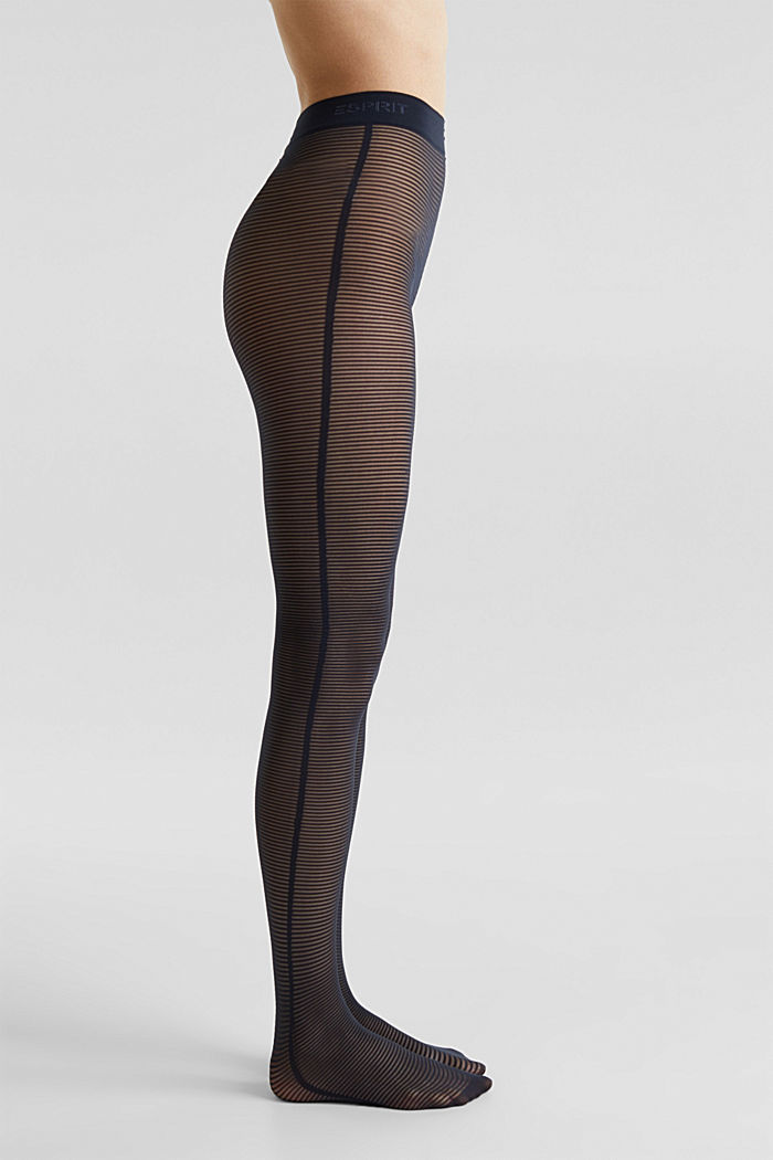 Tights with textured stripes