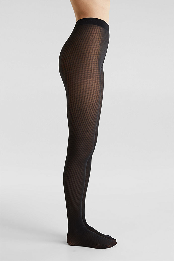 Tights with a houndstooth pattern