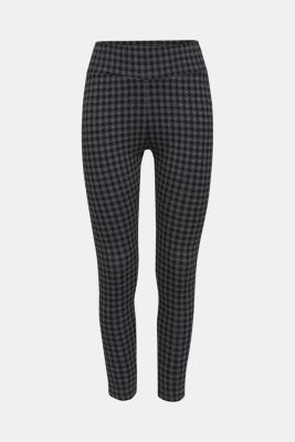7/8 leggings with a check pattern, BLACK, detail