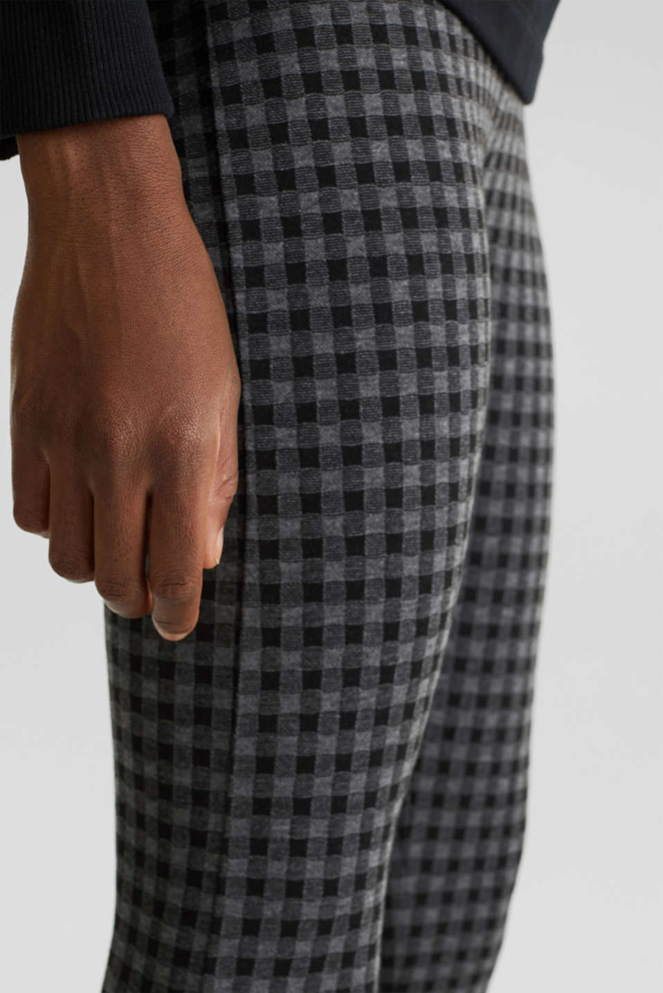 7/8 leggings with a check pattern, BLACK, detail image number 2