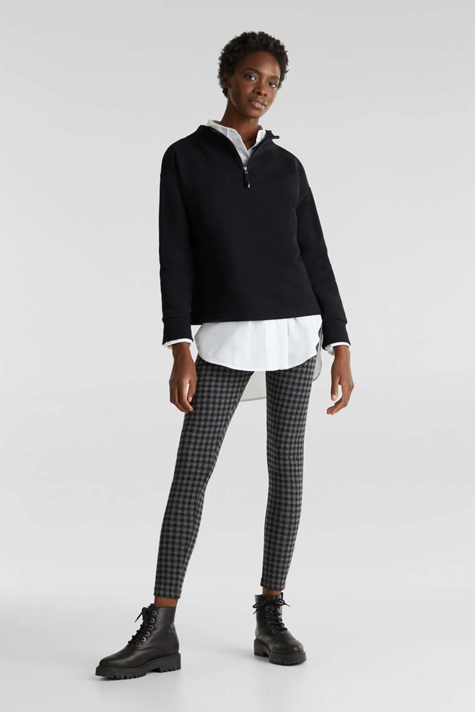 7/8 leggings with a check pattern, BLACK, detail image number 1