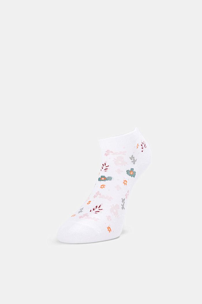 2er-Pack: Sneaker-Socken mit Blumenmuster, WHITE, detail image number 2