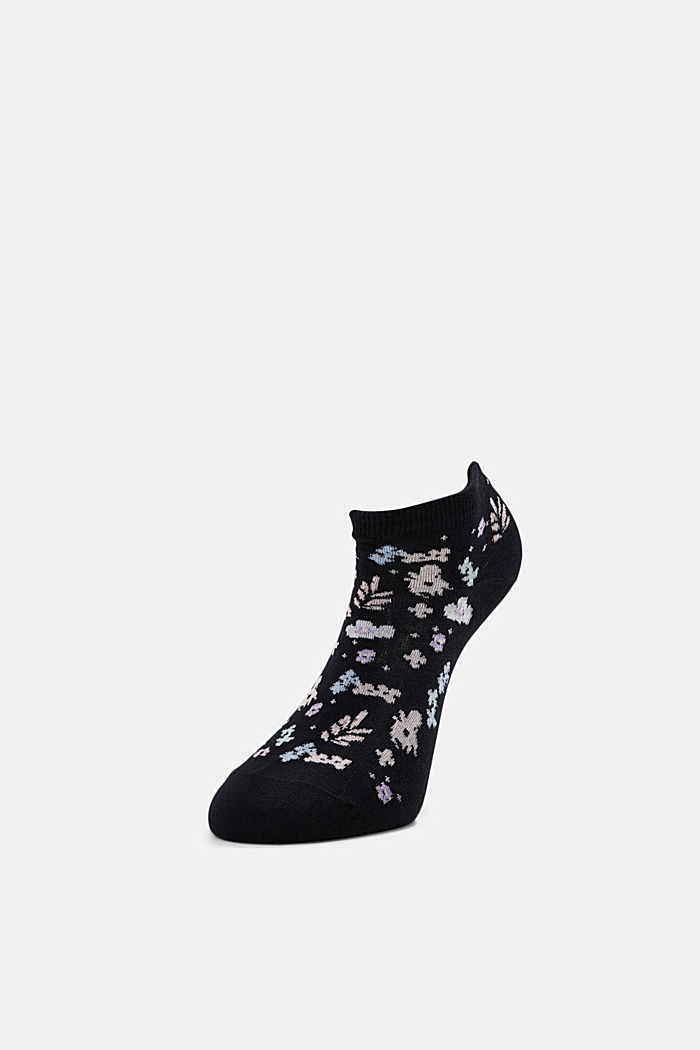 2er-Pack: Sneaker-Socken mit Blumenmuster, BLACK, detail image number 2