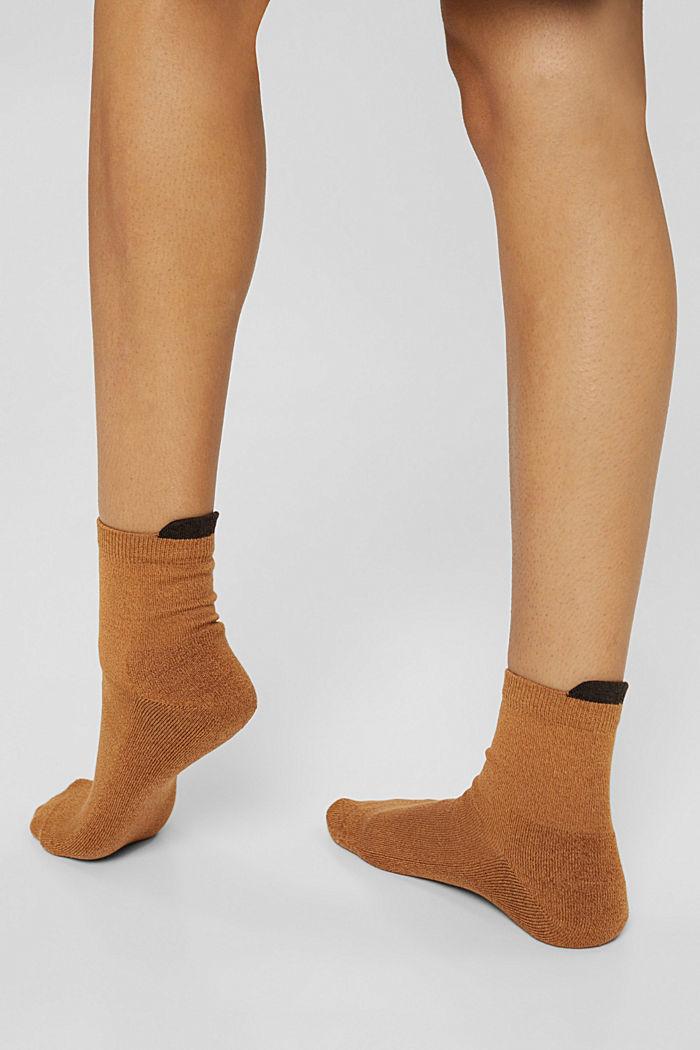 Pack de dos pares de calcetines cortos con base de rizo, CAMEL/BROWN, detail image number 2