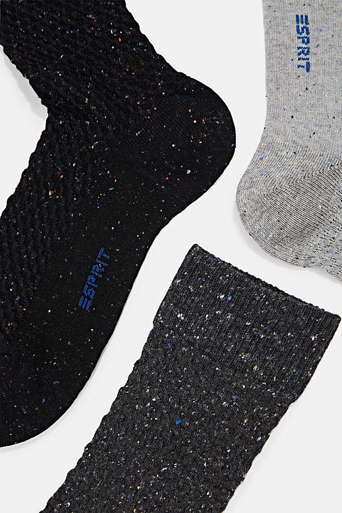 Con seda: pack de 3 pares de calcetines con textura, BLACK/GREY, detail image number 1