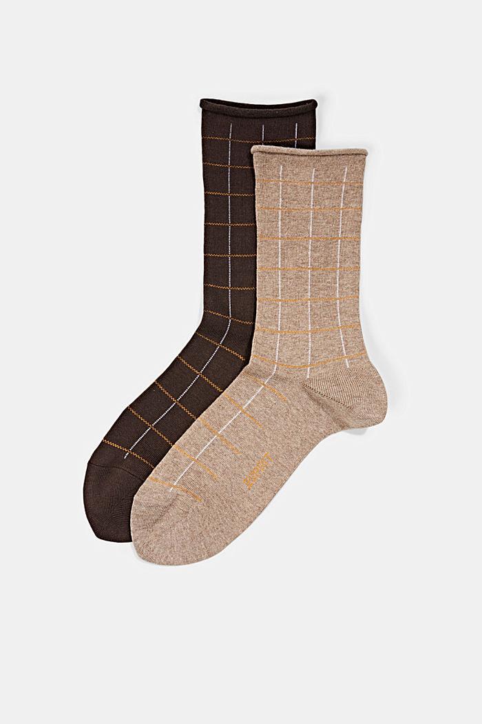Pack de dos pares de calcetines con diseño a cuadros, mezcla de algodón ecológico