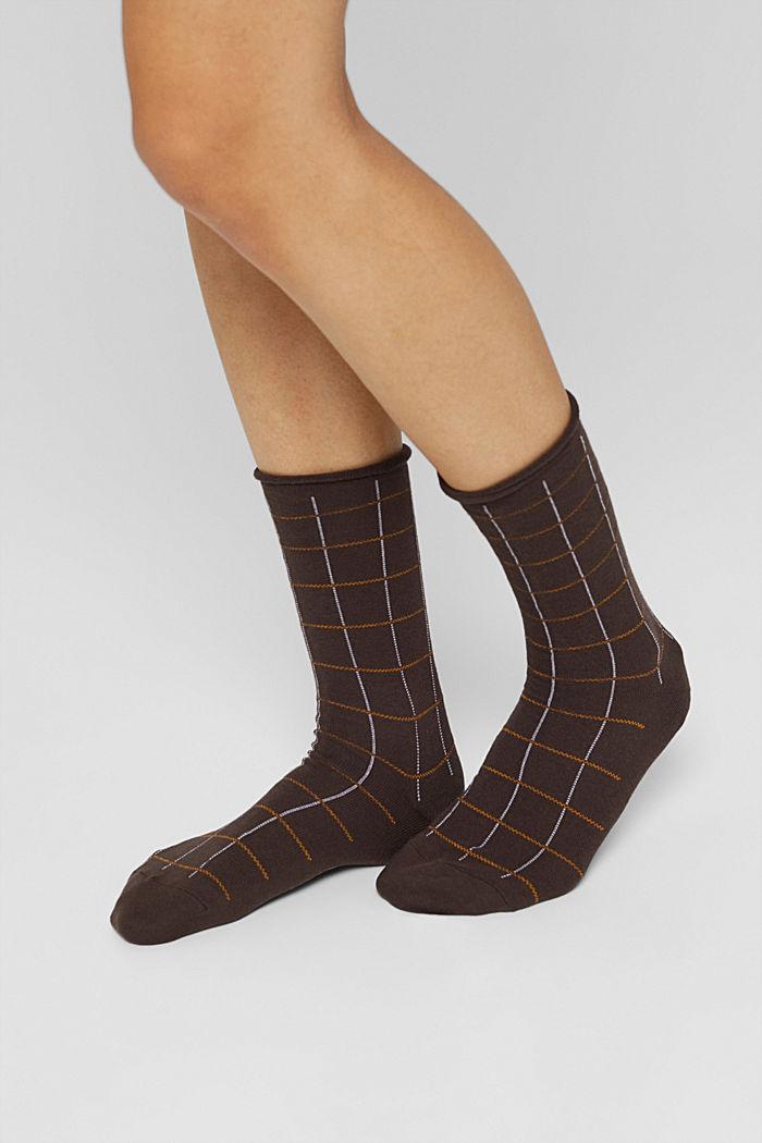 Lot de 2paires de chaussettes à carreaux, coton biologique mélangé