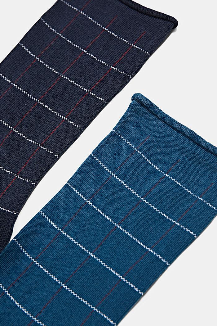2er-Pack Socken mit Karomuster, Bio-Baumwoll-Mix, NAVY/BLUE, detail image number 1