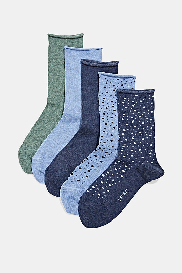 5-pack of socks with rolled cuffs, BLUE/NAVY, detail image number 0