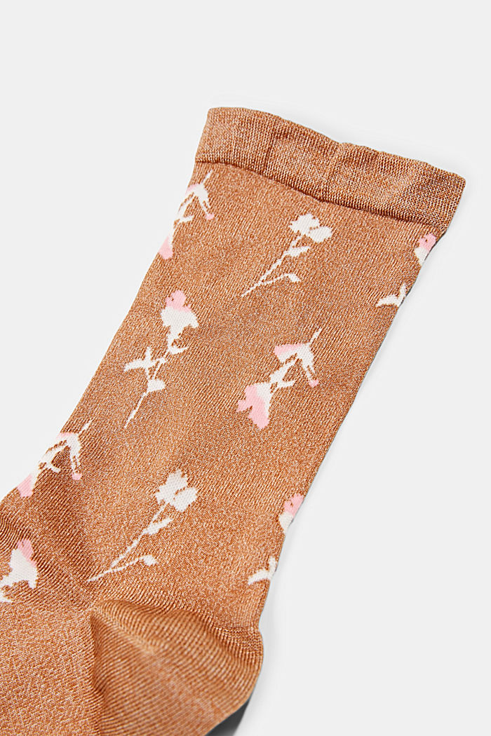 Socks with a floral pattern and fluffy cuffs, SIENNA, detail image number 1