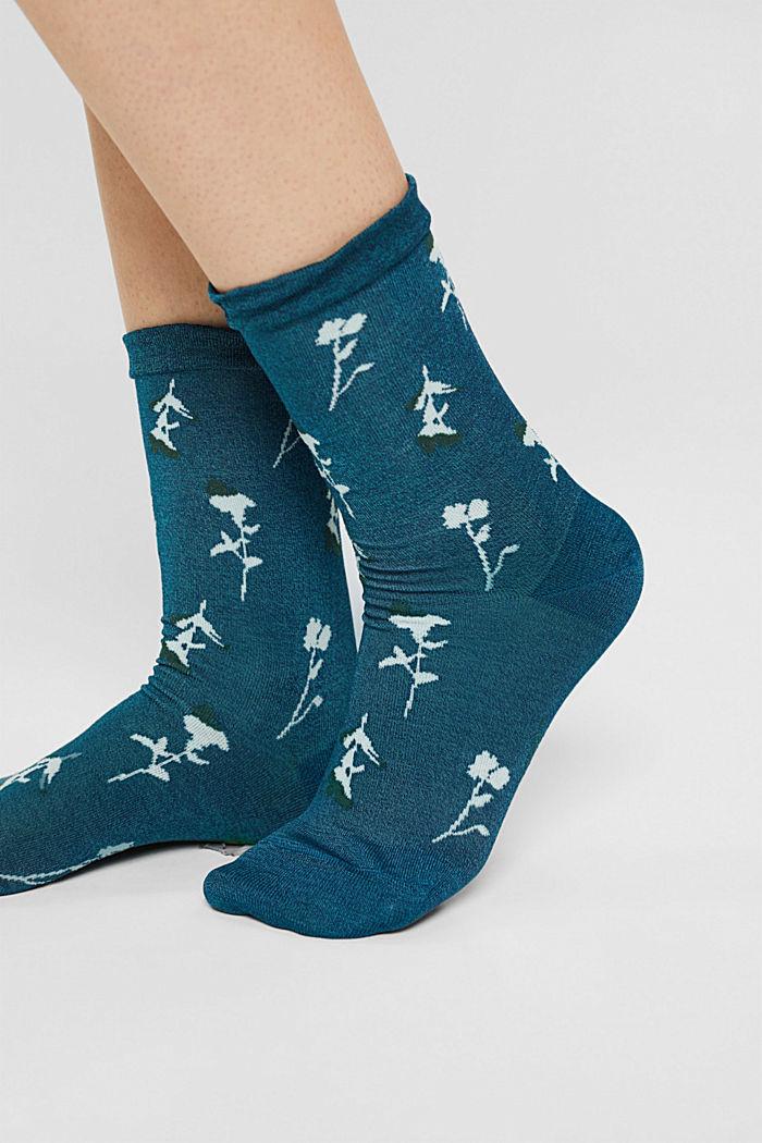 Chaussettes à motif à fleurs et bordures vaporeuses, VENICE NIGHT, detail image number 2