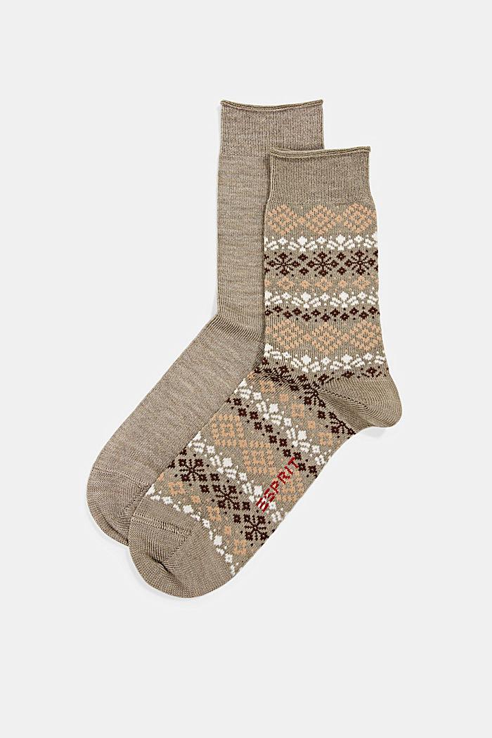 2 páry ponožek s norským vzorem, NUT MELANGE, detail image number 0