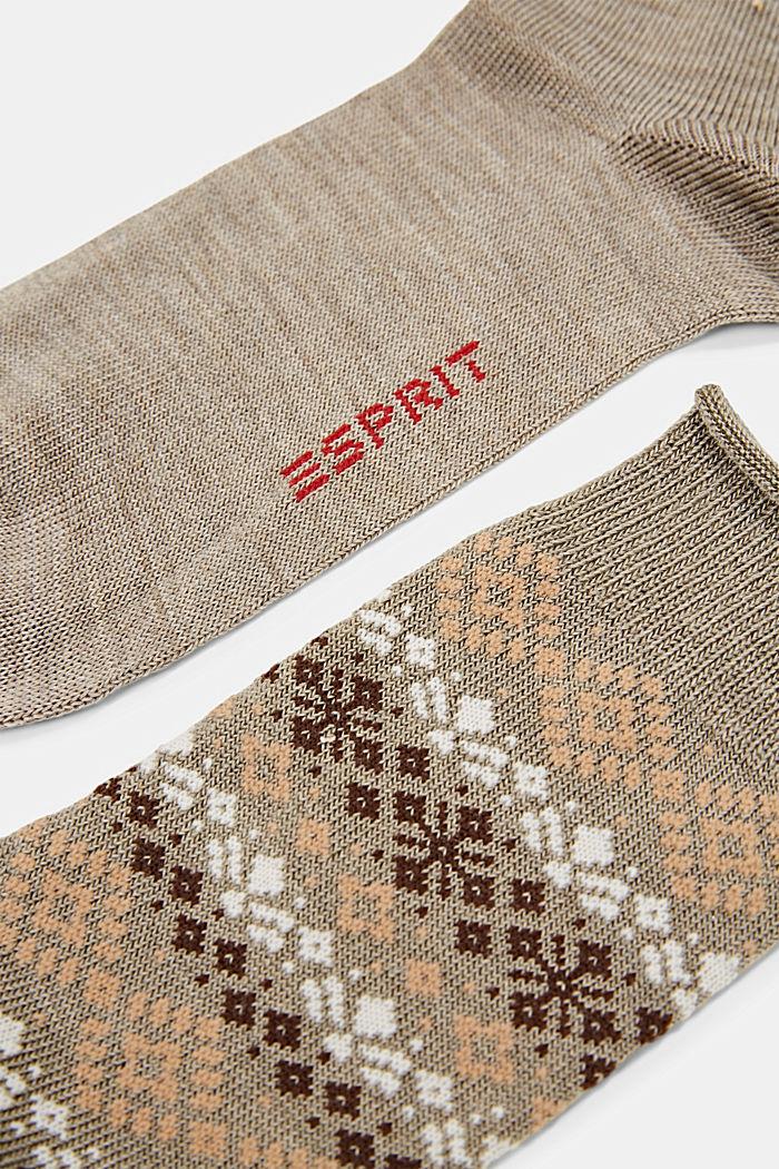 2 páry ponožek s norským vzorem, NUT MELANGE, detail image number 1