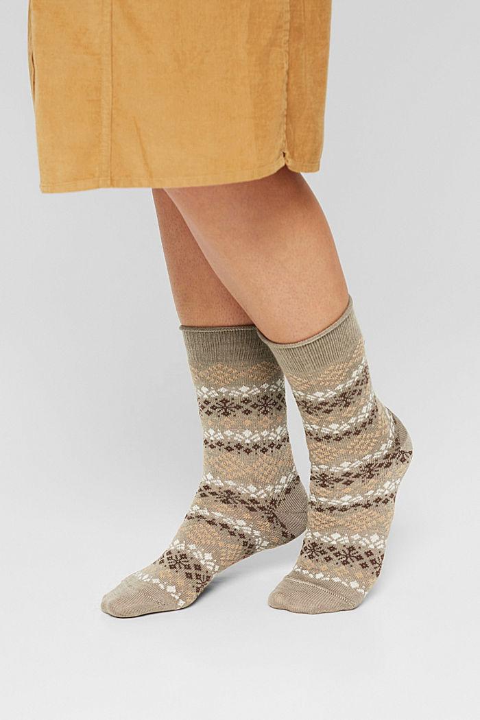 2 páry ponožek s norským vzorem, NUT MELANGE, detail image number 2