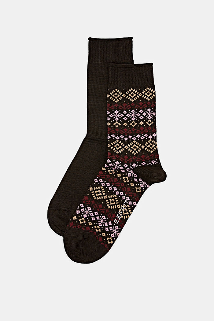 Double pack of socks with a Norwegian pattern, BROWN MELANGE, detail image number 0