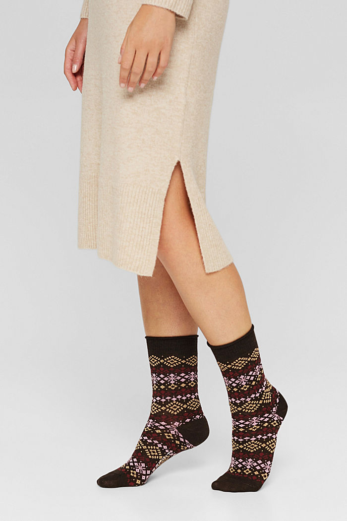 Double pack of socks with a Norwegian pattern, BROWN MELANGE, detail image number 2
