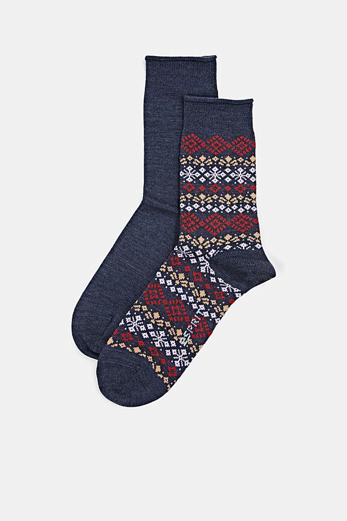 Pack de 2 pares de calcetines con diseño noruego, DARK BLUE MELANGE, detail image number 0