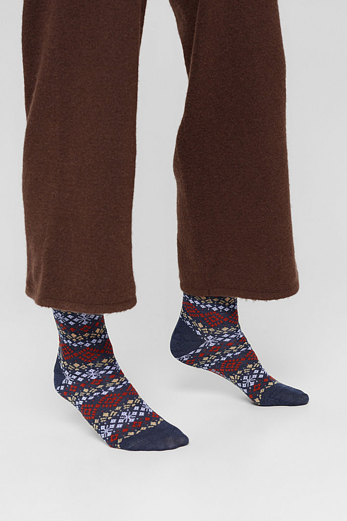 Pack de 2 pares de calcetines con diseño noruego, DARK BLUE MELANGE, detail image number 2