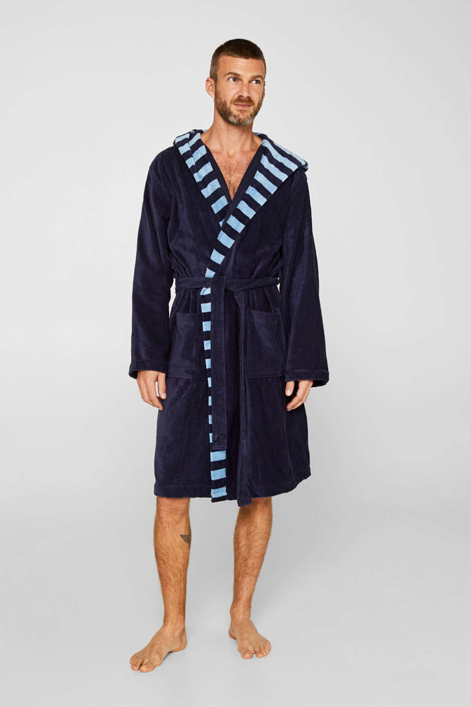 Mens striped bathrobe, 100% cotton, NAVY BLUE, detail image number 1