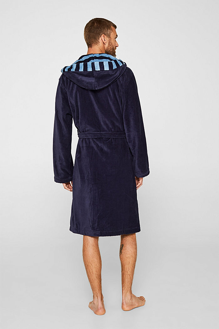 Mens striped bathrobe, 100% cotton, NAVY BLUE, detail image number 2