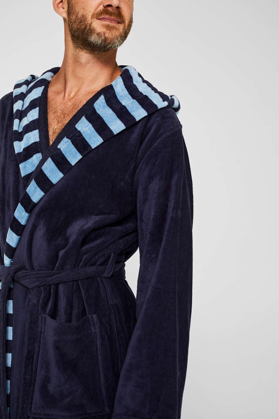Mens striped bathrobe, 100% cotton, NAVY BLUE, detail image number 3